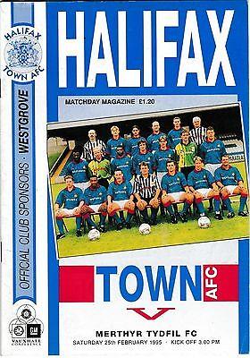 Football Programme>HALIFAX TOWN v MERTHYR TYDFIL Feb 1995