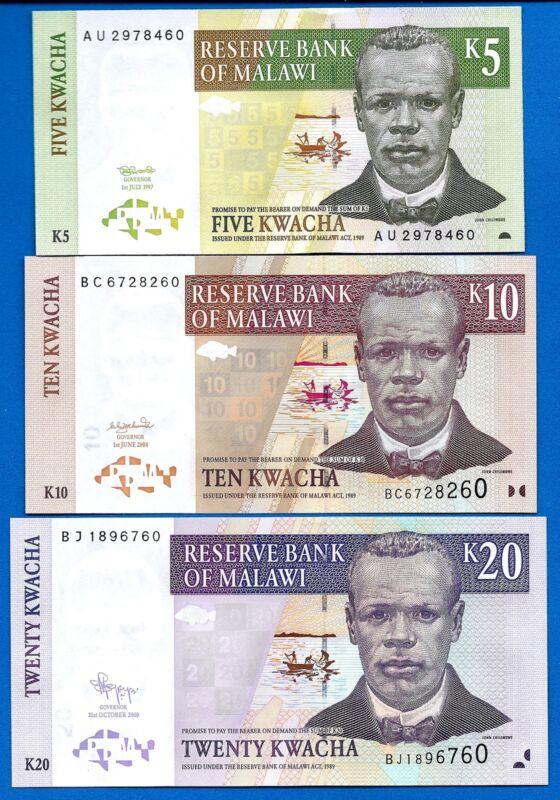 Malawi 5,10,20 Kwacha Year 1997-2009 Uncirculated Banknotes Set #2