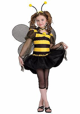 Girls Bee Costume Bumblebee Yellow Black Fancy Dress Bumble Tween Childs NEW