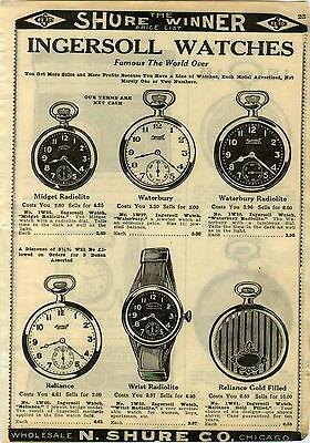 1924 PAPER AD Ingersoll Pocket Watch Waterbury Radiolite Wrist Leonard Radium