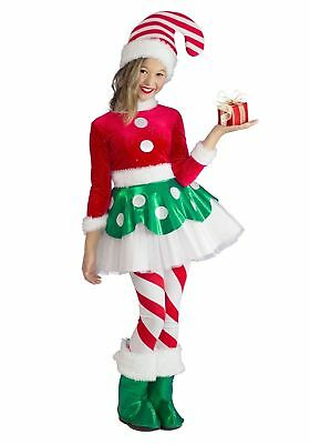 Princess Paradise Deluxe Candy Cane Elf Costume Princess Cute Dress Girls XS-MD ()