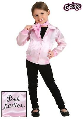 Pink Ladies Jacket Grease for Girl Toddler Kid Fancy Satin with Scarf Retro - Grease Pink Ladies Jacket For Kids