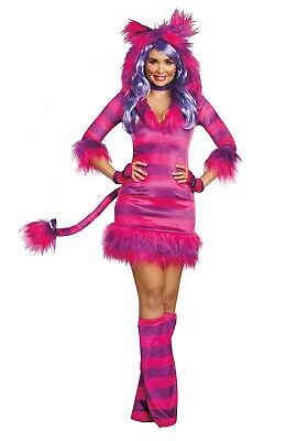 WOMEN'S CHESHIRE CAT ALICE IN WONDERLAND DRESS COSTUME SIZE M (with defect)