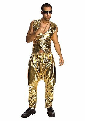 Gold Costumes (80s Rapper MC Hammer Vanilla Ice Gold Pants Costume - Fast - 80's parachute)