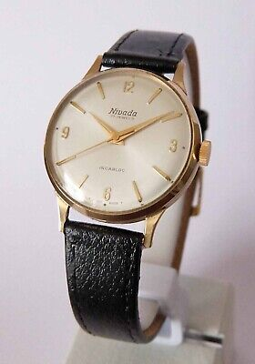 Nivada 9ct Solid Gold Winding Gents Watch AS 1650 Movement London 1965