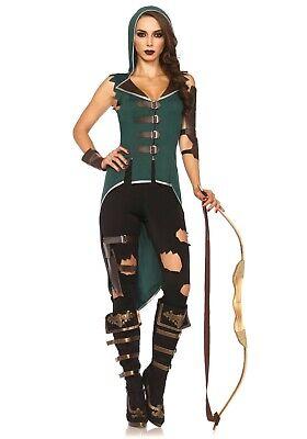 Sexy Costume Carnevale Donna Robin Hood Leggings Strappati Neri Leg Avenue XS