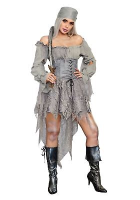 Dreamgirl Pirate Ghost Women's Halloween Costume Deluxe Grey Zombie Dress SM-XL