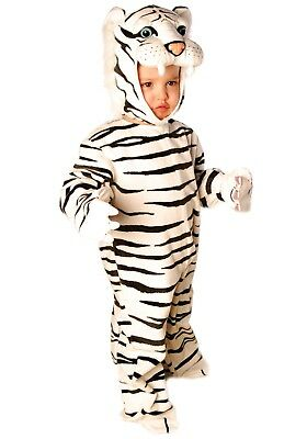 USED TODDLER LITTLE WHITE TIGER COSTUME SIZE MEDIUM 18-24 MONTHS (White Tiger Toddler Costume)