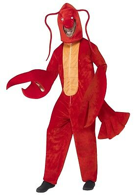 Full Lobster Costume Mens Womens Red Claws Fancy Dress Halloween Mascot Adult (Lobster Man Halloween Costume)