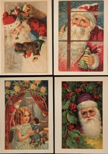 Lot of 12 Glossy Santa Claus Christmas Cards