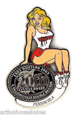HOOTERS RESTAURANT 20th ANNIVERSARY GIRL PENSACOLA LAPEL BADGE PIN
