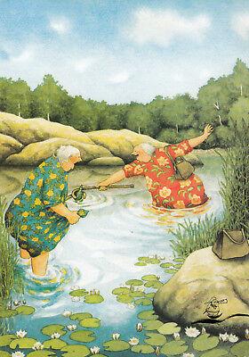 Kunstkarte: Inge Löök - Frauen angeln Flaschenpost / Nr. 58