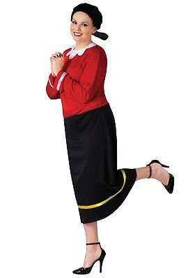 Olive Oyl Costume 2Pc Black & Red Petal Collar Dress & Character Wig Plus Size