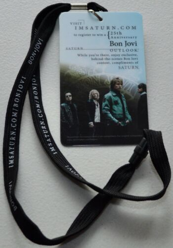 Bon Jovi 25th Anniversary Tour Saturn Promo Badge Lanyard Laminated