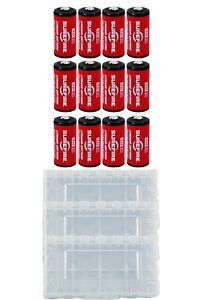 12x Surefire CR123A Lithium Batteries 3v EXP. 09/2027 *MADE IN USA* + 3 Case