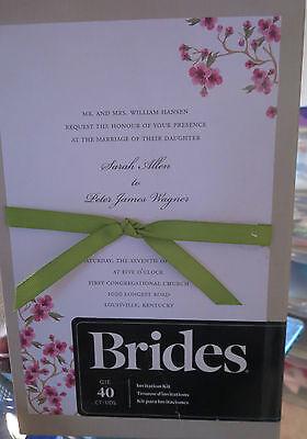 BRIDES 40 WEDDING INVITATION KIT PRINT TEMPLATE ENVELOPES RSVP CARDS RIBBONS (Print Envelope Template)