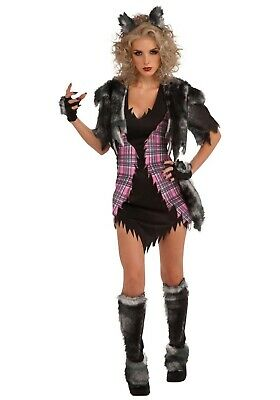 WOMEN'S SEXY SHE WOLF WEREWOLF COSTUME SIZE L 14-16 (missing boot tops)