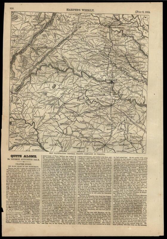 Richmond Virginia General Grant campaign James river Blue Ridge Mts. 1864 map