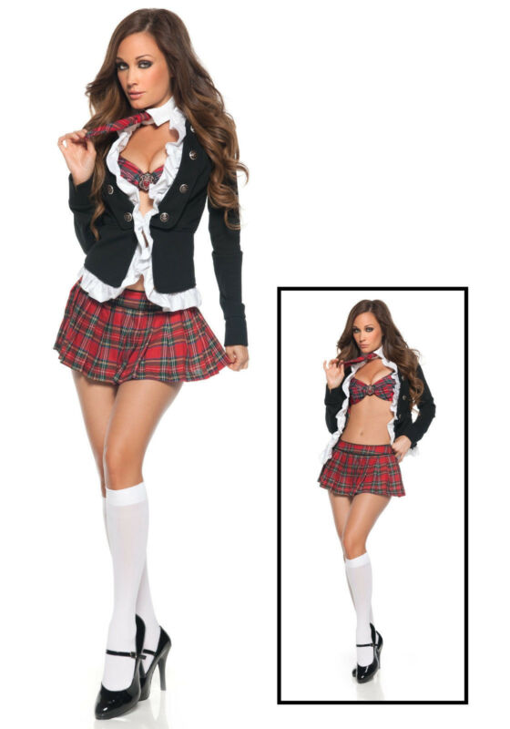 Sexy School Girl Student Uniform w/Plaid Skirt Costume for Halloween Cosplay (M)