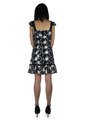 SHRINE GOTHIC SEXY MIDNIGHT LACE BLACK WHITE FLOWERS NIGHT CLUB COCTAIL DRESS Clothing, Shoes & Accessories