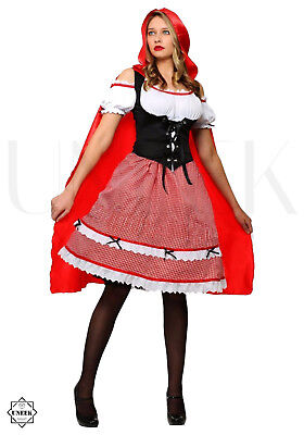 Adult Velvet Red Riding Hood Cape (Long Red Riding Hood Cape with Hood Fancy Dress Costume Halloween Party)