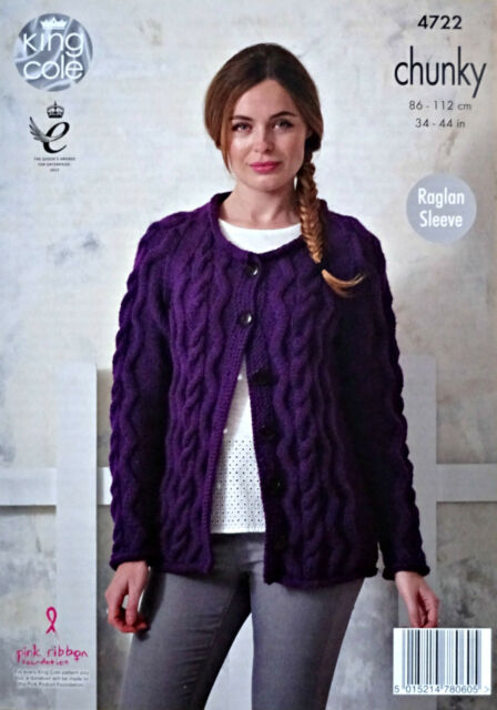 KNITTING PATTERN Ladies Long Sleeve Cable Cardigan &Jumper Chunky King Cole 4722