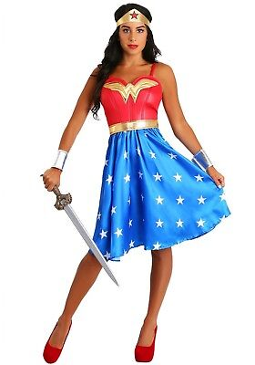 DELUXE LONG DRESS WONDER WOMAN ADULT COSTUME SIZE SMALL 2-6 (w/defect)