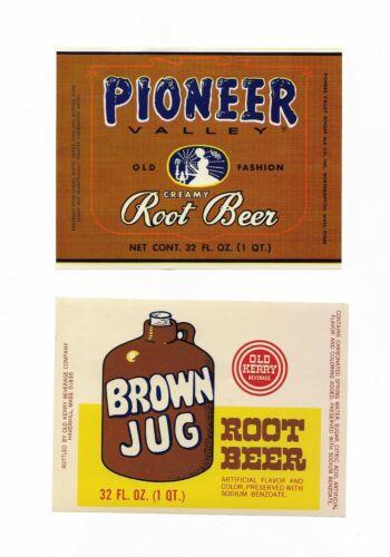 Lot of 5 Vintage Root Beer Bottle Labels 1 Pioneer 4 Old Kerry Brown Jug 1970