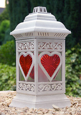 Grablaterne Grablampe Grableuchte Herz Grabschmuck 36cm + Grablicht Kerze Weiss
