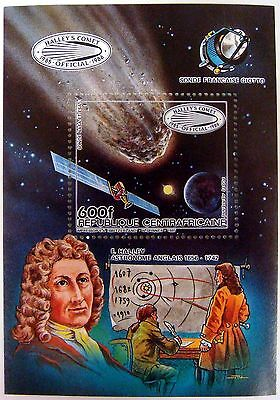 1985 CENTRAL AFRICA HALLEY'S COMET SOUVENIR SHEET ASTRONOMER COMET EARTH