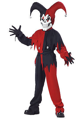 Black and Red Evil Jester Child Costume (Red And Black Jester Costume)