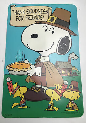 Vintage Hallmark Thanksgiving Diecut Decoration Snoopy 12x8 Double Sided