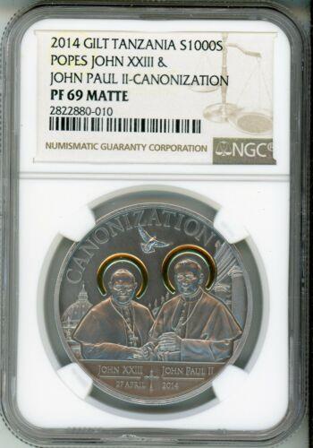 2014 1000S TANZANIA POPES JOHN XXIII & JOHN PAUL II - GILT - NGC PF69 MATTE