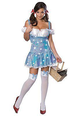 Damen Sexy Pailletten Dorothy Zauberer oz Kostüm Halloween Fest (Sexy Dorothy Kostüme)