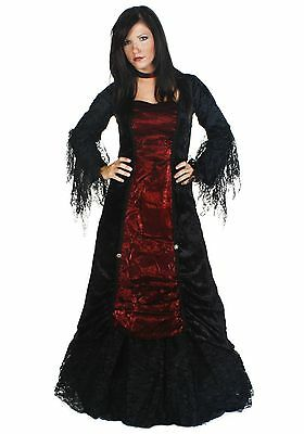 Womens Gothic Renaissance Goth Black Red Vampire Costume - Medium 6-8