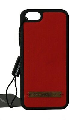 NEW $120 DOLCE & GABBANA Phone Case Skin Red Leather Gold Logo Cover Phone5