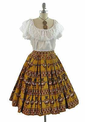 Vtg 50s Full Circle Pleated Skirt Rockabilly Novelty Print Grecian Urns XXS