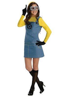 Minion Costume Suspenders (WOMEN'S DESPICABLE ME FEMALE MINION YELLOW SUSPENDERS COSTUME SIZE L (USED))