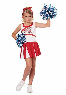 High School Cheerleader Girls Children's Costume w Pom Poms Dress Up Fun XS-MD