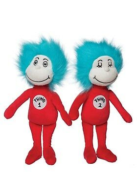 Manhattan Toy Thing 1 Thing 2 Dr. Seuss Red White Aqua Blue Stuffed Plush 0+ NEW