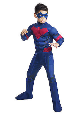 Deluxe NIGHTWING Kids Costume Batman Unlimited Superhero Size Small 4-6 (Nightwing Costume For Boys)