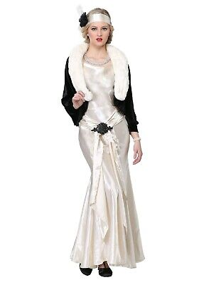 Flapper Women Costume (WOMEN'S 1920's SOCIALITE GATSBY FLAPPER COSTUME USED SIZE S M L (with)