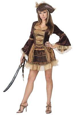 Cute Cop Costumes (Pirate Costume Sexy Ladies 2 Pc Br / Gold / Copper Cute Short Dress & Hat)