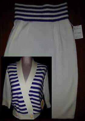 NWT ST. JOHN Womens 2 Piece Skirt Suit Set Blazer Sweater  8 Medium White Violet