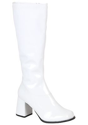Girls White Gogo Boots 70's - Size Child 2 and 3 (run - 70s Costumes