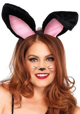Headband plush bunny ears White Black Luxury Rabbit Playgirl Easter Halloween](Playgirl Bunny Halloween Costumes)