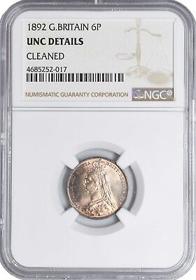 1892 UNC Great Britain Silver 6 Pence Sixpence NGC Toned! Beautiful Coin! KM 760