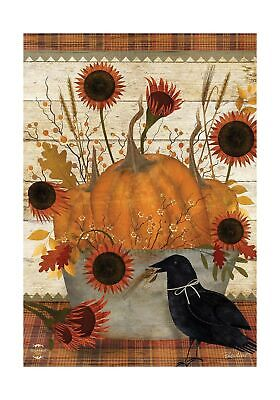 "Briarwood Lane Primitive Pumpkins Autumn House Flag Sunflowers Fall 28"" x 40"""