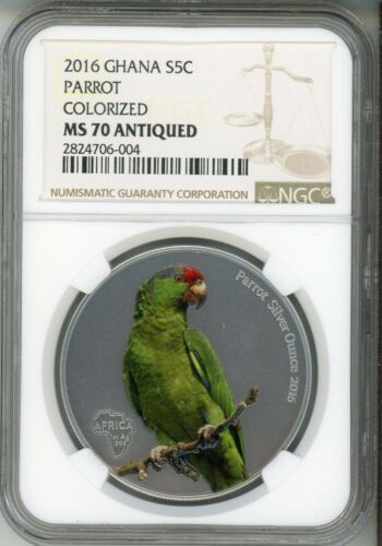 2016 GHANA 5 CEDIS   PARROT - COLORIZED - ANTIQUED  NGC MS 70 - TOP POP