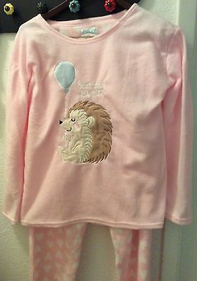 NWT Cozy Critters Pink Heart Plush Hedgehog Pajama Set Best Day Ever XL 16